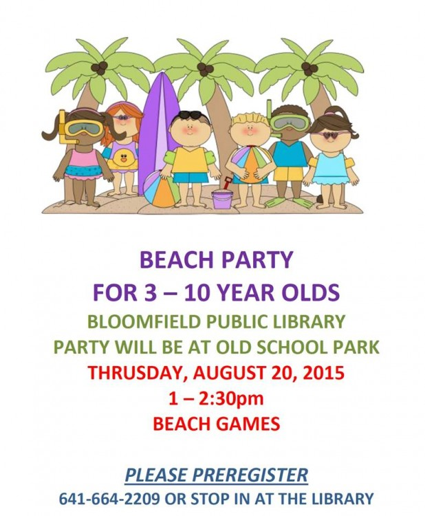 Library beach party flyer