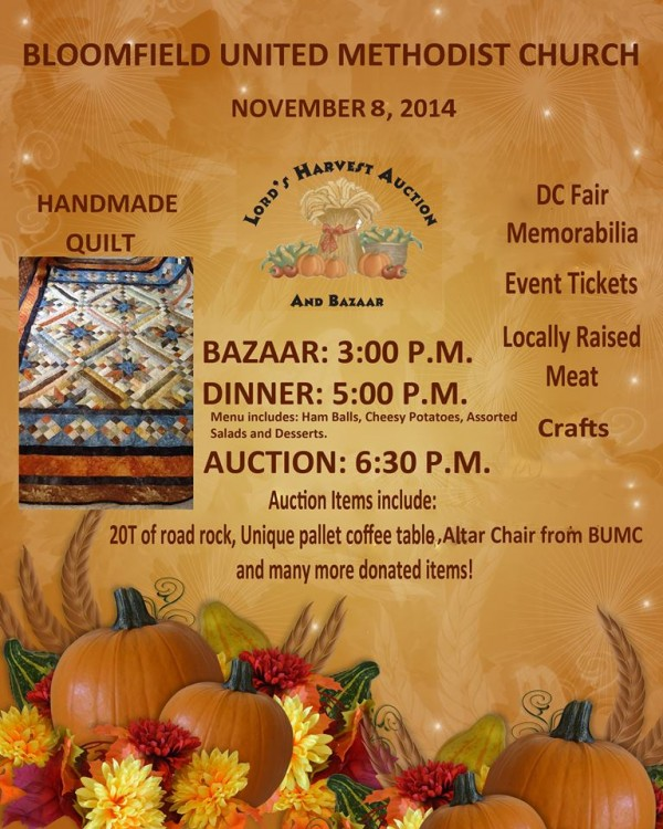 Lord's Harvest Auction flyer