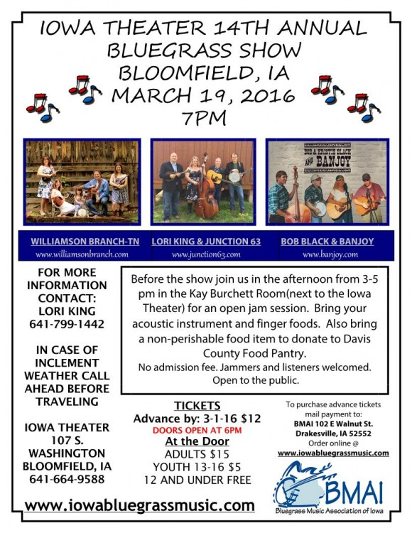 Bluegrass Festival 2016 flyer